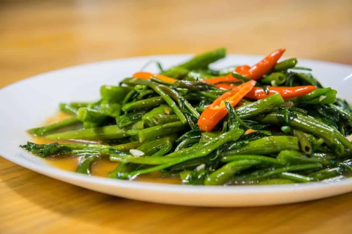 Dish 4 - Pad Pak Bung Fai Dang (Stir Fried Morning Glory)